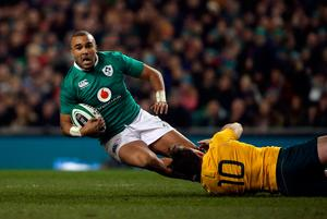 Ireland's Simon Zebo is tackled by Australia's Bernard Foley during the Autumn International match at the Aviva Stadium, Dublin. PRESS ASSOCIATION Photo. Picture date: Saturday November 26, 2016. See PA story RUGBYU Ireland. Photo credit should read: Niall Carson/PA Wire. RESTRICTIONS: Editorial use only, No commercial use without prior permission