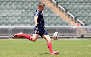 HONG KONG - MAY 31:  Owen Farrell of the British and Irish Lions practices his kicking at the Hong Kong Stadium on May 31, 2013 in Hong Kong.  (Photo by David Rogers/Getty Images)