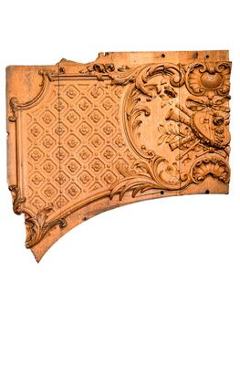 The wooden panel fragment from the first class Cafe Parisienne aboard the doomed Belfast-built vessel