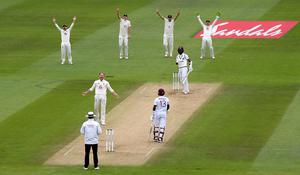 Ben Stokes successfully appeals for the wicket of Kraigg Brathwaite (Mike Hewitt/NMC Pool/PA)