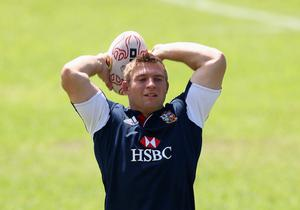 HONG KONG - MAY 31:  Tom Youngs prepare to throw the ball during the British and Irish Lions captain's run at the Aberdeen Sports Ground on May 31, 2013 in Hong Kong.  (Photo by David Rogers/Getty Images)