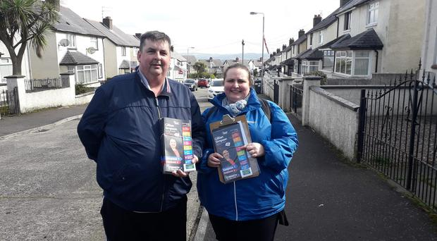 Convicted drug dealer Mark Officer with DUP candidate Gillian Simpson. Credit: Gillian Simpson