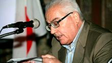 The late 82-year old retired chief archaeologist of the ancient Syrian city of Palmyra, Khaled al-Assaad, giving a press conference at an unknown location in Syria. The Islamic State (IS) group beheaded Al-Assaad, who refused to leave the ancient city when the jihadists captured it, on August 19, 2015, Syria's antiquities chief Maamoun Abdulkarim said. AFP/Getty Images
