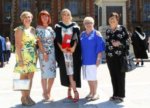 Rachel Dean following graduation at Queens University Belfast, pictured with family members, from left, Olga Millar, Anna Dean, (mother), Lilly Graham, and Maureen McDowell. Pic by Peter Morrison