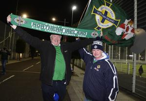 12th November 2020 Northern Ireland fans pictured as they arrive at the National Stadium in Belfast ahead of tonights game against Slovakia Andy Smith and Adrian Black from Cookstown  Mandatory Credit : Stephen Hamilton