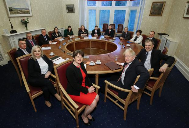 First Minister Arlene Foster and deputy First Minister Michelle O'Neill and the new Executive meets with Prime Minister Boris Johnson and Secretary of State Julian Smith. Photo by William Cherry/Presseye
