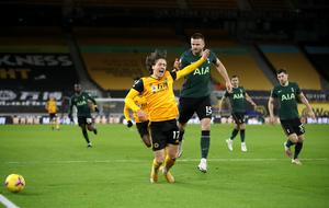 Wolves' Fabio Silva tangles with Eric Dier (Carl Recine/PA).