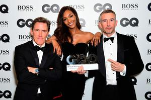 Rob Brydon (left) and Steve Coogan with their Best Comedians award pose with Jourdan Dunn during the GQ Men of the Year Awards 2017 held at the Tate Modern, London. PRESS ASSOCIATION Photo. Picture date: Tueday September 5th, 2017. Photo credit should read: Ian West/PA Wire