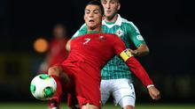Northern Ireland's Martin Paterson with Portugal's Cristiano Ronaldo during Friday night's World Cup qualifier at Windsor Park