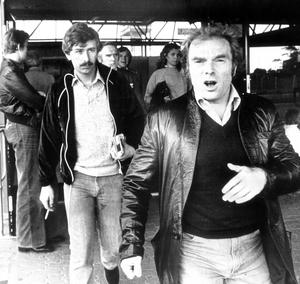 Angry Van Morrison approaches photographer Charles Cochroft, the only photgrapher to capture his arrival at Belfast International Airport in June 1980.