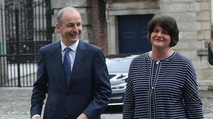 First Minister Arlene Foster and Taoiseach Micheal Martin (Damien Eagers/PA)