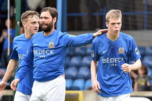 Glenavon boss Gary Hamilton (left) is delighted to agree a new deal with star man Rhys Marshall, who he still thinks could earn a move to full-time football