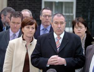 Sinn Fein chairman Mitchel McLaughlin speaks to the media in Downing Street, London as the agonising effort to close a peace process deal continues, Wednesday December 1, 2004.