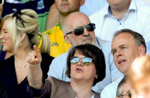 DUP leader Arlene Foster at the Ulster Final. Pic: INPHO/James Crombie