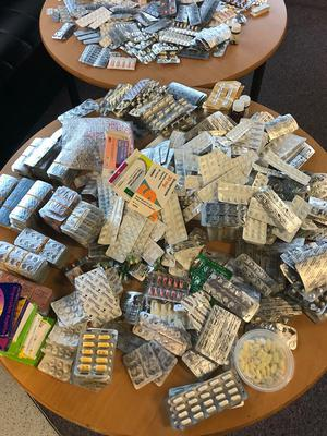 The contents of the PSNI Rapid drugs drop bins in west Belfast. Credit: PSNI