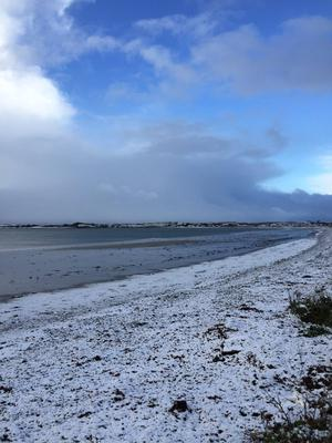 Snow over Cloughey. Pic by David Kerr