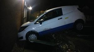 """Police said the car """"rolled"""" off a car park close by and into Frodsham police station"""