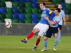 Press Eye - Belfast - Northern Ireland - 12th January 2016  Toals Bookmakers County Antrim Shield Final at Windsor Park Belfast.  Linfield Vs Ballymena.  Linfield's Andy Waterworth with Ballymena's Jim Ervin.  Picture by Jonathan Porter/PressEye
