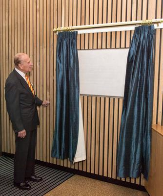 Britain's Prince Philip, Duke of Edinburgh and Honorary Life Member, Marylebone Cricket Club (MCC), unveils a plaque during the opening ceremony of the new Warner Stand at Lord's Cricket Ground in London on May 3, 2017. / AFP PHOTO / POOL / Arthur EdwardsARTHUR EDWARDS/AFP/Getty Images