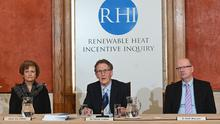 Inquiry chairman Sir Patrick Coghlin  accompanied by Dame Una O'Brien (statutory Inquiry panel member) and Dr Keith MacLean, (technical assessor to the Inquiry),  present the findings  at the launch event to publish the Renewable Heat Incentive (RHI) Inquiry Report in the Long Gallery, Parliament Buildings. Pacemaker Press 13/03/2020