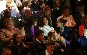 US First Lady Michelle Obama with her daughters Malia (centre) and Sasha in the crowd at the Gaiety Theatre, Dublin for a special performance of Riverdance.  PRESS ASSOCIATION Photo. Picture date: Monday June 17, 2013. Photo credit should read: Julien Behal/PA Wire
