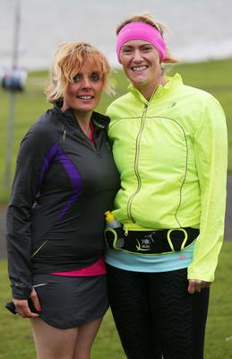Northern Ireland- 23rd May 2014 Mandatory Credit - Photo-Jonathan Porter/Presseye.  Belfast Telegraph RunHer 10k coastal challenge from Seapark to Crawfordsburn.  Left to right.  Emma Ramage with her cousin Rachel from Ballymoney at Seapark before the race.