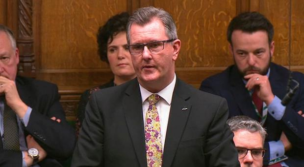 DUP MP Sir Jeffrey Donaldson speaks in the House of Commons on Tuesday. Photo credit: House of Commons/PA Wire