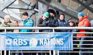 Ireland fans embrace before the RBS 6 Nations match at BT Murrayfield Stadium, Edinburgh. PRESS ASSOCIATION Photo. Picture date: Saturday February 4, 2017. See PA story RUGBYU Scotland. Photo credit should read: Owen Humphreys/PA Wire. RESTRICTIONS: Editorial use only, No commercial use without prior permission.