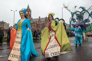 The ancient Orish Queens pictured during Derry City and Strabane District Council's the annual Spring Carnival on St. Patrick's Day in Derry-Londonderry. Picture Martin McKeown. Inpresspics.com. 17.03.17