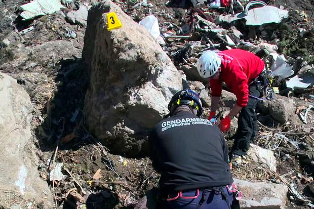 Forensic experts of the French gendarmerie looking for the black box or clues on the site of the March 24 crash of a Germanwings Airbus A320 in which all 150 people on board were killed.