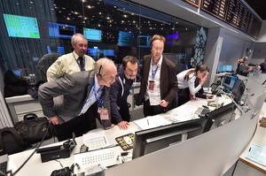 The picture released by the European Space Agency ESA on Wednesday, Nov. 12, 2014 shows scientists reacting in the main control room at the European Space Agency during the first unmanned spacecraft Philae landed on a comet called 67P/Churyumov-Gerasimenko, Darmstadt, Germany, Wednesday, Nov. 12, 2014.