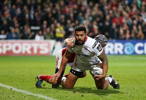 28 October 2016 - Picture by Darren Kidd / Press Eye.     Ulster v Munster at Kingspan Stadium, Belfast.  Try for Ulster's Charles Piutau