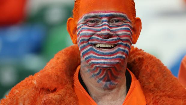 "Pacemaker - Belfast -  -16/11/2019.         Northern Ireland v Holland Euro 2020 Qualifier Windsor Park Belfast   Dutch fan    In tonight""s game At Windsor Park                                               Photo Desmond Loughery/Pacemaker Press"