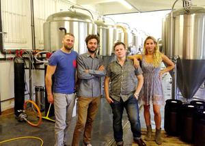 Redwell Brewing - (left to right) Patrick Fisher, Benjamin Thompson, Mike Baxter and Amy Hancock as the independent brewery set up by the  group of friends has been threatened with legal action by energy drink manufacturer Red Bull because of the similarity of its name