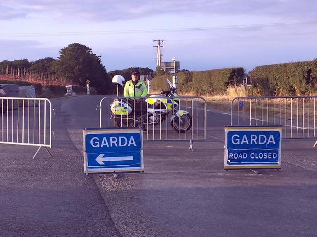 PACEMAKER, BELFAST, 7/7/2018:  Gardai at the scene where William Dunlop suffered a fatal crash during practice for the Skerries 100 today.