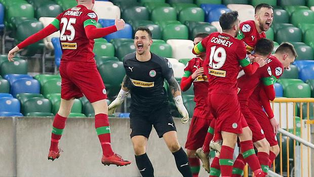 County Antrim Shield Final -  Windsor Park.  21.01.20  Cliftonville FC vs Ballymena United  Cliftonville celebrate after they score in the last minute to win 2-1.   Mandatory Credit ©INPHO/Jonathan Porter