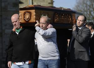 The funeral of Michael McGibbon at Holy Cross Church in the Ardoyne area of  North Belfast on Thursday Morning.