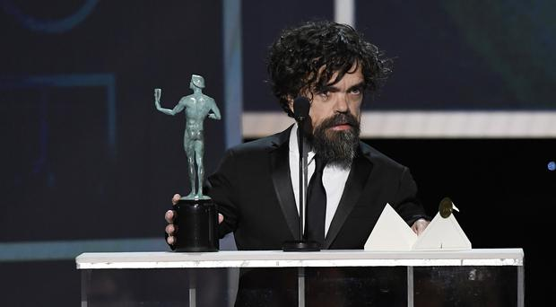 Peter Dinklage accepts Outstanding Performance by a Male Actor in a Drama Series for 'Game of Thrones' onstage during the 26th Annual Screen Actors Guild Awards at The Shrine Auditorium on January 19, 2020 in Los Angeles, California. (Photo by Kevork Djansezian/Getty Images for Turner)
