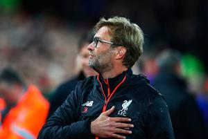LIVERPOOL, ENGLAND - OCTOBER 17:  Jurgen Klopp, Manager of Liverpool looks on during the Premier League match between Liverpool and Manchester United at Anfield on October 17, 2016 in Liverpool, England.  (Photo by Clive Brunskill/Getty Images)