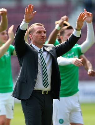 EDINBURGH, SCOTLAND - APRIL 02:  Celtic Manager Brendan Rodgers  celebrates at full time during the Ladbrokes Premiership match between Hearts and Celtic at Tynecastle Stadium on April 2, 2017 in Edinburgh, Scotland. (Photo by Ian MacNicol/Getty Images)