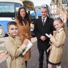 Gail Walker, Editor of the Belfast Telegraph, and Chris Conway, Group Chief Executive of Translink, pictured with budding Little Reporters Harvey Brown and Emily Coulson (P5), Crawfordsburn Primary School, for the launch of this year's school competition. Photo by Aaron McCracken