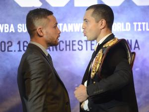 PACEMAKER BELFAST 18/11/2015 World Champions Carl Frampton and Scott Quigg during a Press Conference at the Europa Hotel in Belfast on Wednesday, ahead of the super-bantamweight title fight in Manchester on the 27th February. Photo Colm Lenaghan/Pacemaker Press