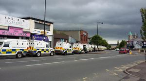 Heavy police presence in north Belfast ahead of return parade Pic Deborah McAleese @DeborahMcAleese