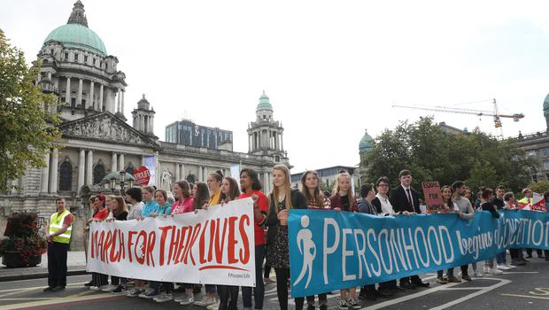 Press Eye - Belfast - Northern Ireland - 7th September 2019 -  General view of the March For Their Lives rally which has been organised by Precious Life in Belfast City Centre. Photo by Declan Roughan / Press Eye.