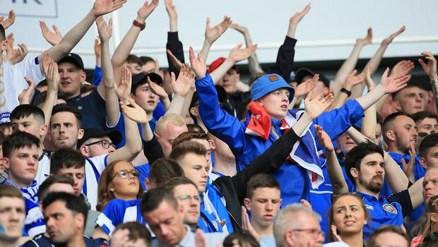 Coleraine supporters in full voice at the Irish Cup final in May.