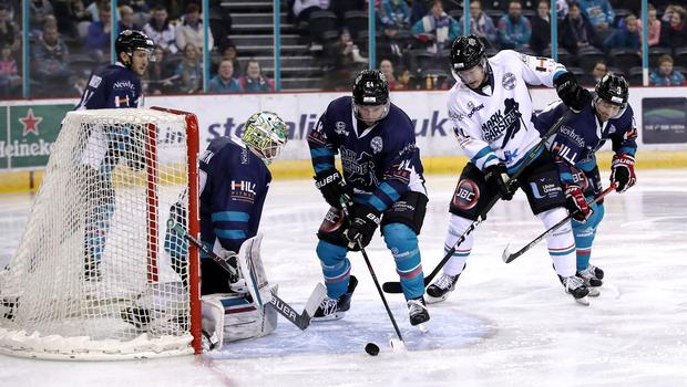 Belfast Giants' David Goodwin (blue) and Patrick Mullen during Mark Garside's Testimonial at the SSE Arena (William Cherry/PressEye)
