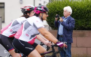 Sammy Douglas watching on as he is unable to partake due to a cycling accident earlier in the week during The Gran Fondo Giro d'Italia as it takes off from the Titanic Building and passes through the streets and roads of Northern Ireland on June 05 2016 in Belfast , Northern Ireland ( Photo by Kevin Scott / Presseye)