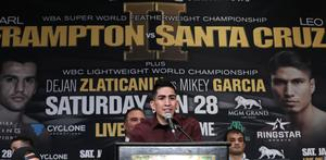 Press Eye - Belfast -  Northern Ireland - 26th January 2017 - Photo by William Cherry  Leo Santa Cruz during Thursdays press conference at the MGM Grand Hotel and Casino, Las Vegas. Leo Santa Cruz will meet Carl Frampton in the ring in a rematch for the WBA featherweight title at the MGM Garden Arena.  Photo William Cherry/Presseye