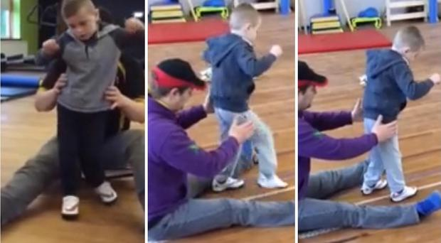 Oliver Dickey takes his first steps in this video clip at the specialist centre in Scotland