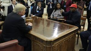 Kanye West swore in the Oval Office during a frantic meeting with Donald Trump (Evan Vucci/AP)
